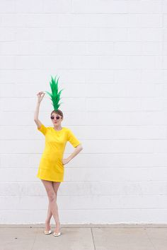 How To Make Food Halloween Costumes (30+ Ideas For Any Age!)   studiodiy.com Diy Halloween, Easy Adult Halloween Costumes, Holidays Halloween, Fruit Costumes, Diy Costumes, Costume Ideas, Pineapple Costume Diy, Pineapple Halloween, Teacher Costumes