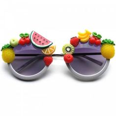 Super Cute Novelty Tutti Frutti Fun Round Sunglasses ❤ liked on Polyvore featuring accessories, eyewear, sunglasses, party sunglasses, party glasses, round frame sunglasses, round metal sunglasses and metal glasses