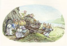 Sea Story, Brambly Hedge by Jill Barklem ||| mouse, mice, cart