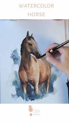 Do you love horses and time lapse painting videos? Then you will love watching the creation process of this beautiful horse, one of the most graceful Watercolor Art Lessons, Watercolor Horse, Watercolor Painting Techniques, Painting Videos, Watercolor Animals, Watercolour Painting, Painting & Drawing, Watercolor Artists, Painting Process