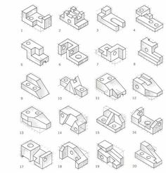 Oblique Drawing Exercises In this drawing all Oblique Drawing, Isometric Drawing Exercises, Orthographic Projection, Orthographic Drawing, 3d Sketch, Sketch Design, Sketches, Perspective Isométrique, Happy Crafters