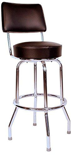 Richardson Seating Swivel bar Stool with Back Chrome Frame and Black Seat 24 Retro Bar Stools, Bar Stools With Backs, 24 Bar Stools, Commercial Bar Stools, Home Bar Furniture, Office Furniture, Look Retro, Retro Style, Swivel Counter Stools