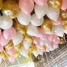 These gorgeous balloons can be filled with Air or Helium. Co Ordinate With our beautiful Pink and Gold Party Tableware. Balloon Ceiling Decorations, White Party Decorations, 21st Birthday Decorations, Balloon Garland, Balloons On Ceiling, Debut Decorations, Birthday Centerpieces, Birthday Crafts, Rose Gold Balloons