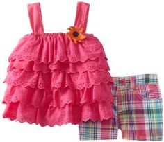 Young Hearts Baby-Girls Infant 2 Pieced Pink Infant Girls Woven Top And Short Set