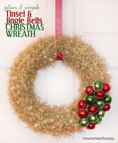 tinsel and bells christmas wreath...this one's pretty, great tutorial