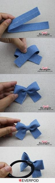10 DIY Haarschleife Tutorials für Mädchen The Effective Pictures We Offer You About DIY Fabric Flowers lace A quality picture can tell you many things. Fabric Bows, Ribbon Bows, Fabric Flowers, Ribbons, Ribbon Hair, Diy Flowers, Jeans Fabric, Felt Bows, Diy Ribbon