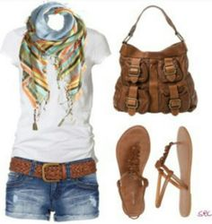 Short Jeans Patterned Scarf And Leather Purse