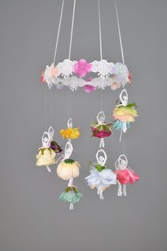 Ballerina mobile, Ballet mobile, Ballet decor, Flower mobile, Floral mobile, Princess mobile, Baby shower, Baby mobile, READY TO SHIP