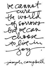 No podemos curar el mundo de sus penas pero podemos escoger vivir con alegría #CCDestino