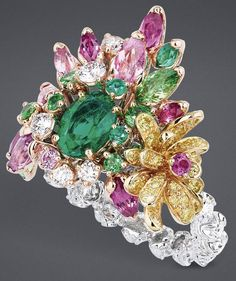 "DIOR ""Emerald Crown of Flowers"" ring"
