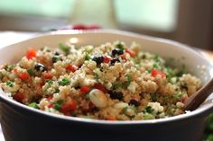 Quinoa with Israeli feta and red peppers Feta, sweet peppers and a robust vinaigrette dressing create an unforgettable quinoa salad that'll keep you coming back for more.