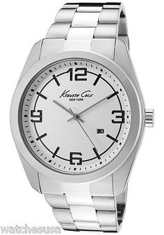Kenneth Cole New York Bracelet Silver-white Dial Men's watch #KC3913 - http://chic.designerjewelrygalleria.com/kenneth-cole/kenneth-cole-new-york-bracelet-silver-white-dial-mens-watch-kc3913/