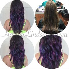 I am so in love with this new color combo and technique that I used today to achieve this oil slick/iridescent color. I used @joico and @pravana