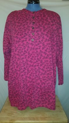Womens Honors Pink Floral Long Sleeve Button Front Shirt Plus 24W #Honors #Blouse