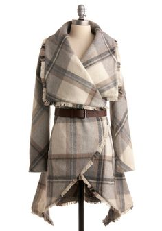 Homemade Marshmallows Coat from ModCloth Love Fashion, Autumn Fashion, Fashion Coat, Emo Fashion, Blanket Coat, Cute Coats, Plaid Coat, Fall Plaid, Belted Coat