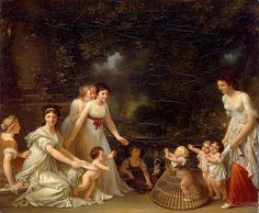 First Steps, c.1788, Marguerite Gérard (1761-1837). Note the baby walker! and how the toddlers are restrained by cloth wraps under their arms.