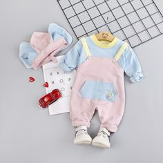 Cute Baby / Toddler Long-sleeve Top and Overalls with Hat Set Matching Family Outfits, Baby Outfits Newborn, Cute Baby Clothes, Latest Fashion For Women, Baby Items, Cute Babies, Long Sleeve Tops, Pat Pat, Kids Outfits