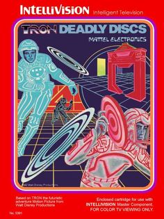"Box art for ""TRON Deadly Discs"", an action game based on the classic film TRON and released by Mattel for the Intellivision in 1982"