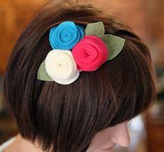 Passo a passo de tiara com flor de feltro | Como fazer em casa Artesanato