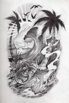 half sleeve tattoos for men black grey * black and grey tattoos half sleeve men . black and grey half sleeve tattoos for men . half sleeve tattoos for men black grey Tiki Tattoo, Tattoo Band, Hawaiianisches Tattoo, Leg Tattoos, Tribal Tattoos, Irezumi Tattoos, Maori Tattoos, Tattoo Quotes, Borneo Tattoos
