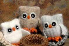 Owls made from recycled sweaters, i will make these for the nursery!