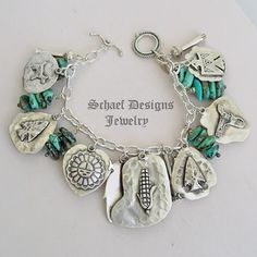 Schaef Designs Campo Frio Turquoise & Sterling Silver REVERSIBLE Southwestern Charm Bracelet | New Mexico