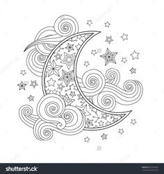 Contour image of moon crescent clouds stars in zentangle inspired doodle style isolated on white. Suqare composition. Coloring book/page for adult and older children. Raster illustration.
