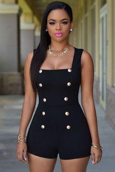 ae57c98b06 Gold Buttons short sleeveless zip one piece bodysuit - Uniqistic.com Black  Romper