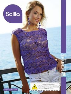 Scilla Hairpin Lace Tank Top from  by Mondial at KnittingFever.com FREE
