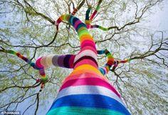 "street-art-fragments: "" Yarn bombing, yarnbombing, yarnstorming, guerrilla knitting, urban knitting or graffiti knitting is a type of graffiti or street art that employs colorful displays of knitted. Crochet Tree, Crochet Yarn, Crochet Hooks, Land Art, Guerilla Knitting, Art Fil, Street Art Utopia, Urbane Kunst, Best Street Art"