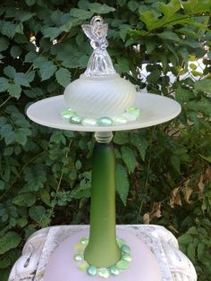"""Angel in Green"" glass garden totem ~Moonstone Cottage~"