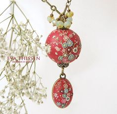 Hand Appliqued Polymer Clay Jewelry  created by  Eva Thissen available on Etsy