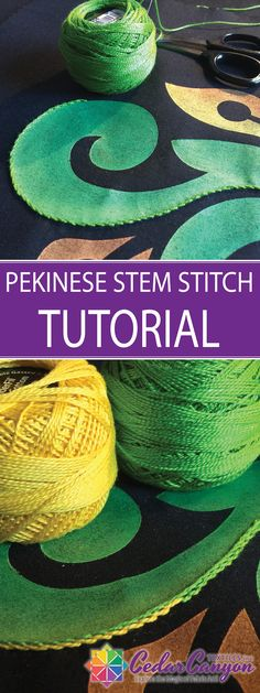 Pekinese Stem Stitch? See how fabric artist Shelly Stokes dresses up a simple hand embroidery stitch with a Pekinese-style wrap. It's perfect for adding dimension to painted fabric!