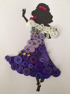 Esméralda (Button Art by Bern_Cisn Disney Button Art, Disney Buttons, Disney Diy, Disney Crafts, Disney Theme, Disney Magic, Creative Arts And Crafts, Fun Crafts, Button Picture