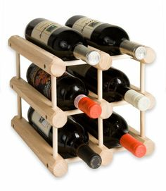 6 Bottle Wooden Wine Rack Cosmecol