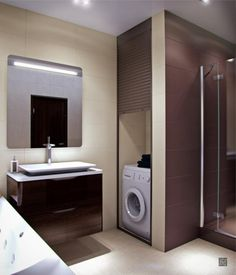 cozy Bathroom with washing machine with wooden wahsinh satne then wall lighting above mirror plus ighting ceiling design idea
