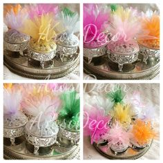 Silver favour boxes by ArosiDecor with various shades of tulle. Which colour do you like? Afghan wedding, asian wedding, pakistani wedding, arab wedding!