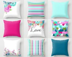 Throw Pillow Covers Watercolor Floral Pillow by HLBhomedesigns