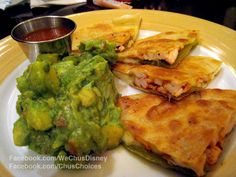 Grand Californian - Hearthstone Lounge. Chicken quesadilla with Guacamole and roasted salsa. There's a nice crispness to the tortilla that we love.