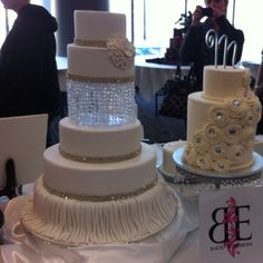 Two really cute cakes I saw at a cake expo in KC. Cool idea to make one layer something besides cake!