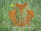 Rusted Rustic Metal Owl Garden Critter with metal stake
