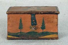 JONAS WEBER, LANCASTER COUNTY, PENNSYLVANIA, ca. 1840, painted trinket box, the lid and sides decorated with flowers and the front with a landscape of trees flanking a flowering bush, all on an orange ground, retaining its original wire hinges and tin hasp
