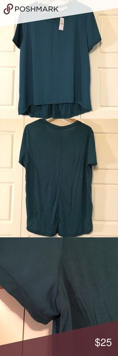 Jersey and knit mixed media short sleeve top Beautiful green color. New with tags. A little too tight in the arms for me. 7 inch opening but no stretch in the arm hole. Plenty of room in the top. Flowy torso area. Front is silky material and back is jersey knit. Overall very soft. LOFT Tops