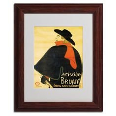 Aristide Bruant by Henri de Toulouse-Lautrec Matted Framed Painting Print