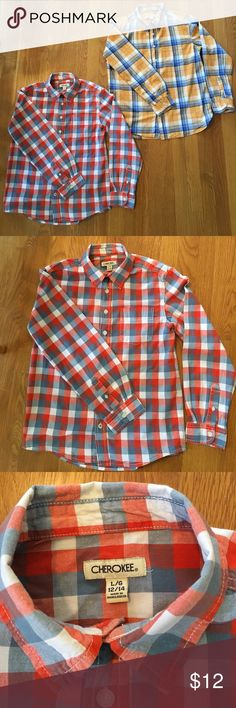 Bundle of 2 Cherokee Boys Button Down Plaid Shirts 2 Very gently worn, size L (12-14) Cherokee Boys Plaid Button Down shirts. No stains. No holes. Cherokee Shirts & Tops Button Down Shirts