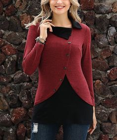 Reborn Collection Red & Black Layered Tunic - Women & Plus Black Layers, Red Black, Layered Look, Tunic, Pullover, High Point, Illusion, Unique, Sweaters
