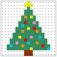 Melty Bead Patterns, Hama Beads Patterns, Beading Patterns, Bracelet Patterns, Embroidery Patterns, Christmas Perler Beads, Beaded Christmas Ornaments, Christmas Crafts, Christmas Tree