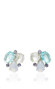 Chalcedony, iolite, and blue quartz earrings by BOUNKIT for Preorder on Moda Operandi
