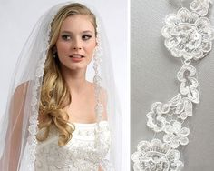 ANGELIC FRENCH LACE VEIL  Angelic French Lace Veil is a stunning one layer bridal veil that features a delicate and lovely rose design and accented with silver bugle beads, seed beads and sequins in the center of the rose appliques. A beautiful and romantic bridal veil!    MEASUREMENTS  The veil is attached to a comfortable 4 wide metal comb. This 1-layered veil is 36 long and 72 wide.    VEIL COLORS  *White - bright stark white. Select this color if your gown is white.  *Ivory - our color…