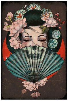 Death Becomes Her by Amy Dowell Geisha w Skull Fan Canvas Art Print La mort la devient par Amy Dowell Geisha w Skull Fan Art Canvas Print Art Inspo, Inspiration Art, Geisha Tattoos, Art And Illustration, Botanical Illustration, Art Geisha, Geisha Drawing, Geisha Anime, Geisha Japan